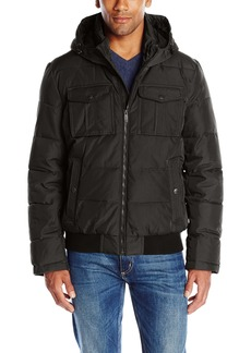 Dockers Men's Poly-Oxford Two Pocket Puffer Hoody
