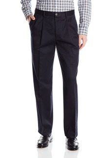 Dockers Men's Refined No Wrinkles Khaki Classic Pleat Pant Navy - discontinued