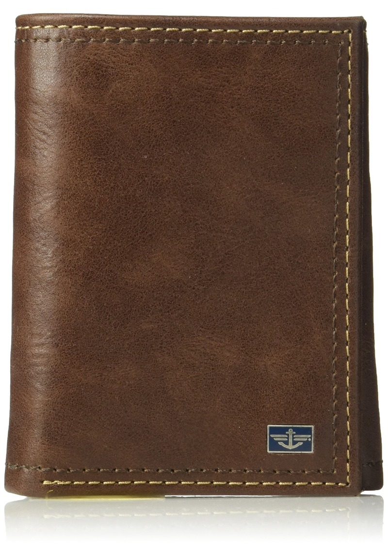 Dockers Men's RFID Leather Trifold Wallet With Zipper Pocket -tan