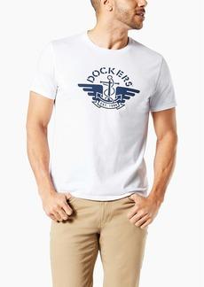 Dockers Men's Short Sleeve Crewneck Tee Shirt Paper White-1986 Logo XL