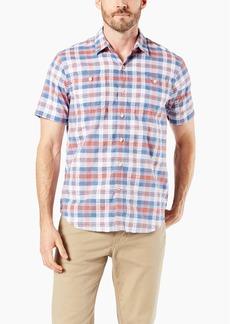 Dockers Men's Short Sleeve Performance Seersucker Shirt Busch