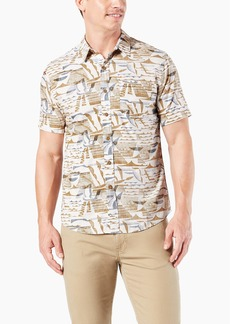 Dockers Men's Short Sleeve Resort Shirt Belanger Tencel egret