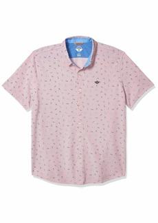 Dockers Men's Short Sleeve Smart 360 Ultimate Button Up Flex Shirt Paper Planes mauve rose XL