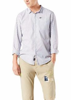 Dockers Men's Slim Collar Long Sleeve Woven Shirt Paper White-Blue PIN Stripe XL