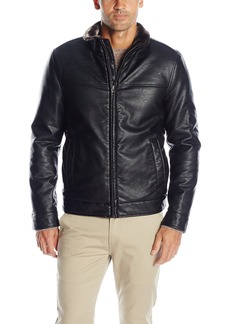 Dockers Men's Smooth Lamb Faux Leather Stand Collar Jacket with Full Faux Fur Lining