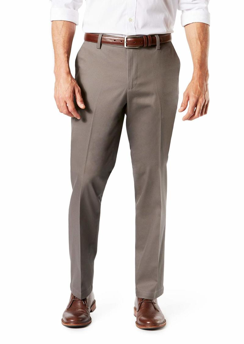 Dockers Men's Straight Fit Signature Lux Cotton Stretch Khaki Pant Dark Pebble - creased