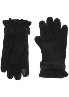 Dockers Men's Suede Gloves with Knit Insert and Strap Black