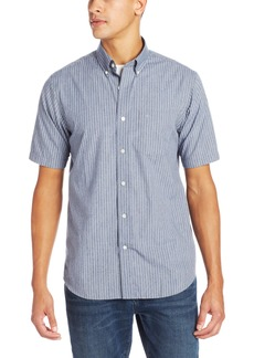 Dockers Men's Thin Stripe Short Sleeve Shirt with Button Down Collar  Blue