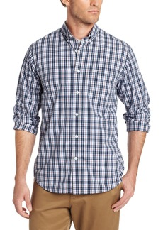 Dockers Men's White Plaid Long Sleeve Shirt with Button Down Collar