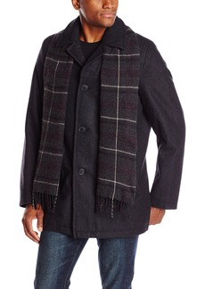 Dockers Men's Wool Melton Walking Coat with Detachable Scarf