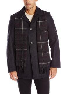 Dockers Men's Wool Melton Walking Coat With Red Plaid Scarf  L