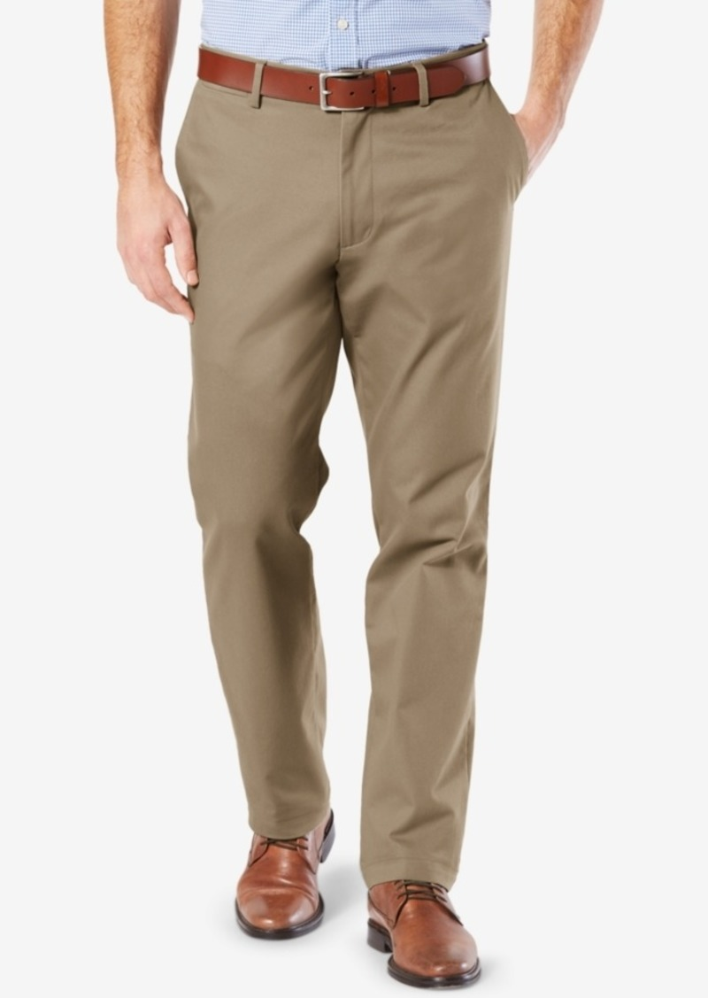 Dockers Mens' Signature Lux Cotton Straight Fit Stretch Khaki Pants