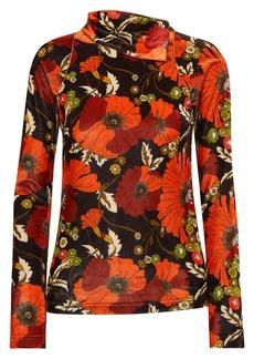 Dodo Bar Or Brenda Floral-print Stretch-velvet Turtleneck Top
