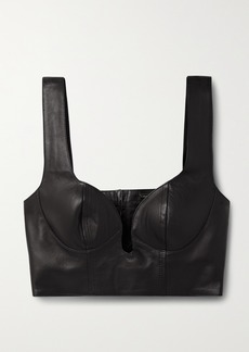 Dodo Bar Or Carol Cropped Leather Bustier Top