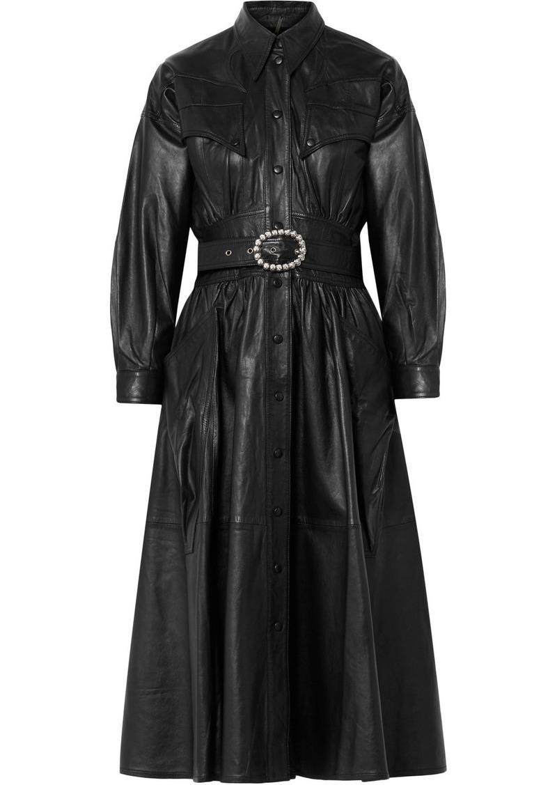 Dodo Bar Or Crystal-embellished Belted Leather Midi Dress