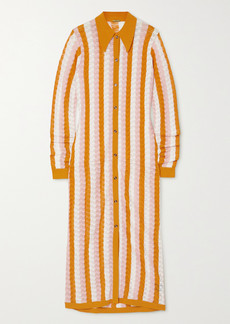 Dodo Bar Or Dar Striped Pointelle-knit Midi Shirt Dress