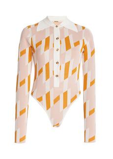 DoDo Bar Or - Women's Carina Geometric-Printed Jersey Bodysuit - Orange - Moda Operandi