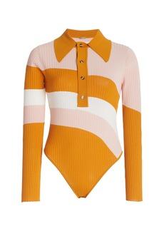 DoDo Bar Or - Women's Hera Striped Ribbed Knit Bodysuit - Orange/pink - Moda Operandi