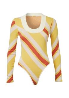 DoDo Bar Or - Women's Summer Striped Knit Bodysuit - Yellow/brown - Moda Operandi