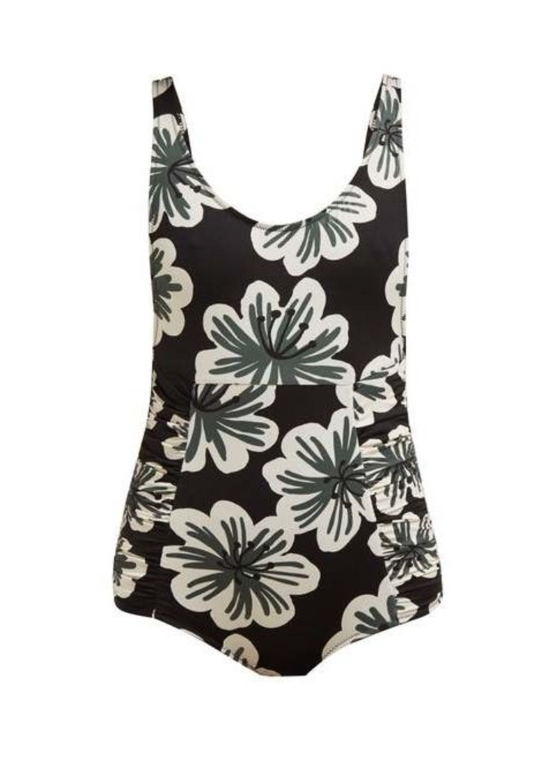 Dodo Bar Or Adinna floral-print ruched swimsuit
