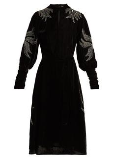 Dodo Bar Or Bead-embroidered velvet midi dress