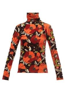 Dodo Bar Or Brenda floral-print high-neck velvet top