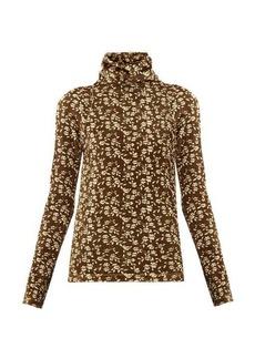 Dodo Bar Or Brenda roll-neck floral-print velour sweater