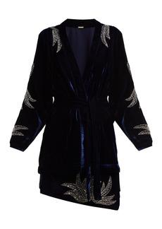 Dodo Bar Or Corinne bead-embellished velvet kimono jacket