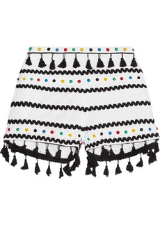 Dodo Bar Or Embellished embroidered cotton-gauze shorts