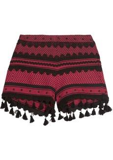 Dodo Bar Or Embellished lace-trimmed cotton-jacquard shorts