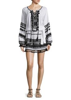 Dodo Bar Or Malka Cotton Lace-Up Mini Dress