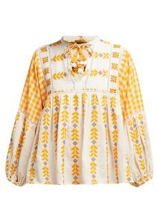 Dodo Bar Or Miguel tie-neck woven cotton blouse