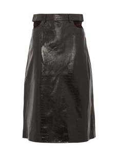 Dodo Bar Or Perla crocodile-effect leather skirt