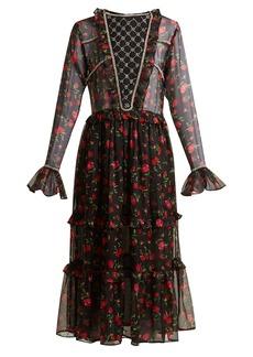 Dodo Bar Or Roberta embellished floral-print chiffon dress