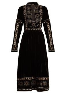 Dodo Bar Or Sara embroidered velvet dress