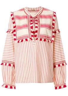 Dodo Bar Or stripe and tassel detailed blouse - Nude & Neutrals