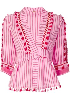 Dodo Bar Or striped plunge-neck blouse - Pink & Purple