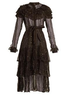 Dodo Bar Or Suzie ruffle-trimmed striped chiffon dress