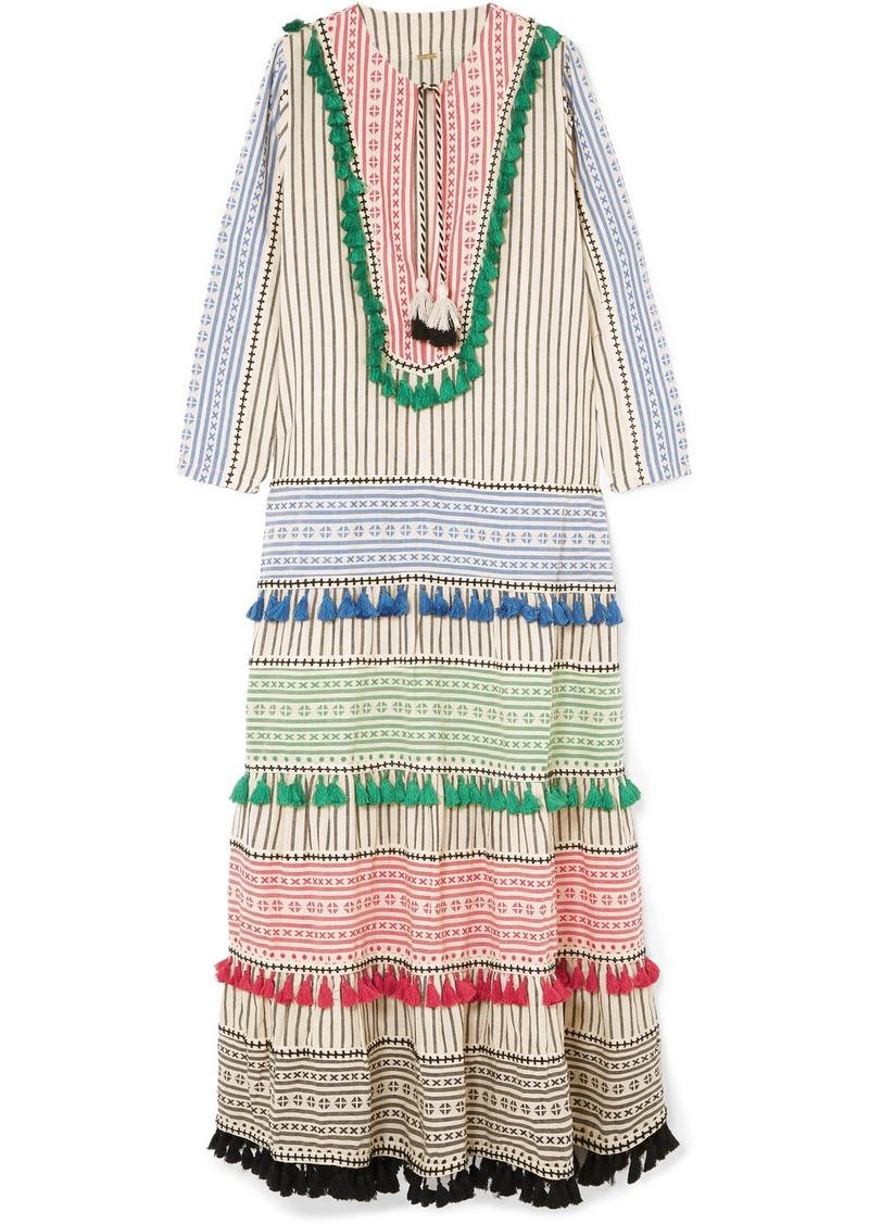 Dodo Bar Or Ida Dress.Tasseled Embroidered Cotton Gauze Maxi Dress