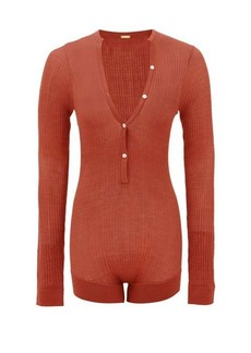 Dodo Bar Or Tommy buttoned rib-knitted silk bodysuit