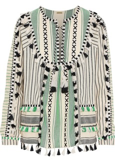 Dodo Bar Or Woman Aria Embroidered Striped Cotton-gauze Blouse Green