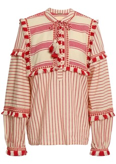 Dodo Bar Or Woman Emanuelle Embroidered Striped Cotton-gauze Top Tomato Red