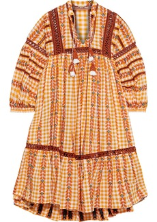 Dodo Bar Or Woman Gathered Embroidered Checked Cotton-gauze Dress Saffron
