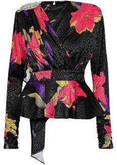 Dodo Bar Or Woman Grace Embellished Draped Satin-jacquard Peplum Blouse Black