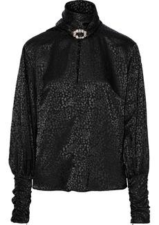 Dodo Bar Or Woman Josephine Crystal-embellished Satin-jacquard Blouse Black