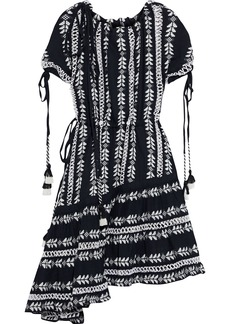 Dodo Bar Or Woman Asymmetric Off-the-shoulder Embroidered Checked Cotton-gauze Dress Black