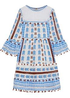 Dodo Bar Or Woman Marioli Crochet-paneled Embellished Cotton-jacquard Dress Blue