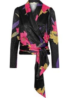 Dodo Bar Or Woman Merilyn Satin-jacquard Wrap Top Black