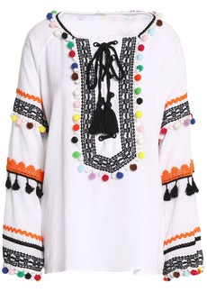 Dodo Bar Or Woman Pompom-embellished Cotton-gauze Blouse White
