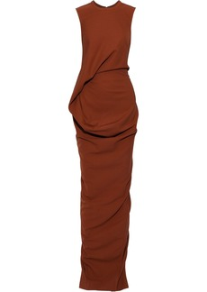 Rick Owens Woman Ellipse Split-back Draped Jersey Gown Brown